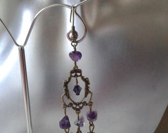 "Earrings ""connector and violet stones"""