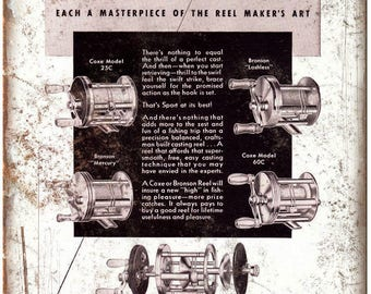 """Coxe Bronson Reel Co. Fishing Reel Vintage Ad 10"""" x 7"""" Reproduction Metal Sign"""