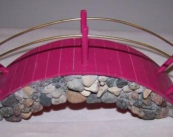 Wooden Fairy Garden Bridge - Berry Pink