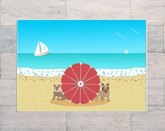 French Bulldogs, Honeymoon, Beach Art, Summer Holiday, Surf Art, Printable, Instant Download, Digital Download, Multi Sizes, Digital Art,