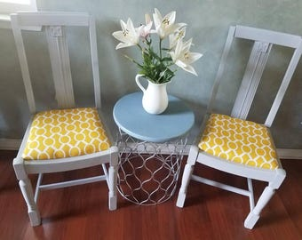 Revamped Pair (2) Antique Side Chairs- Grey &Yellow