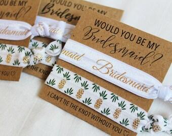 Bridesmaid Proposal Gift, Hair Ties, Elastic Hair Ties, Elastic Wrist Bands/Bracelets, Party Favors, Wedding Favors, Hair Tie Favors