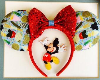 Disney food inspired Mickey Ears, Mickey Ears, Minnie Mouse Ears, Disney Ears, Summer fun Ears, Epcot food and wine festival ears