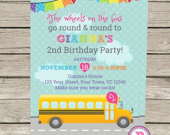 Wheels on the bus Birthday Party Invitation 5x7 Front Back Go round and round to Boy Girl Pink Blue School Bus Balloon Banner Prints Digital