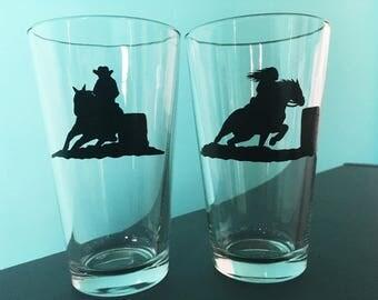 Handpainted barrel racing pint glasses