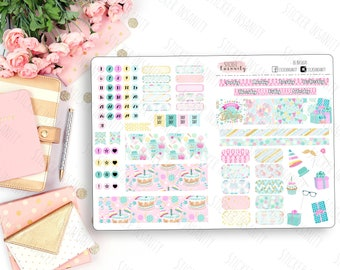 Birthday B6 Monthly Kit: planner stickers, sew much crafting, travelers notebook, annie plans