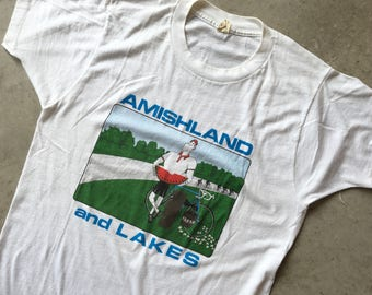 1980s 80s Vintage Amishland And Lakes White Single Stitch SUPER SOFT T-Shirt Tee 50/50 Made In USA (Medium)