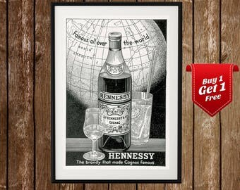 Vintage Hennessy Poster - Hennessy Print, Hennessy Cognac, Hennessy Brandy, Hennessy Ad, Henessy, Hennessy Wall Art, VSOP, XO, Drink