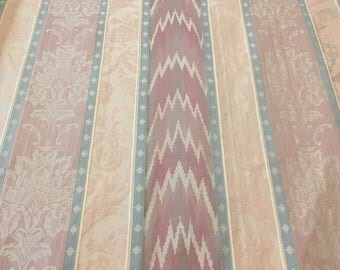 Vintage - fully woven zigzag and floral stripe upholstery weight fabric in pale blue and pink and mauve