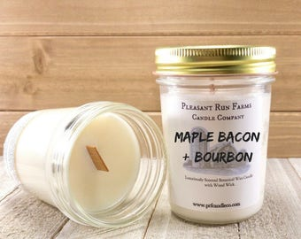 Maple Bacon  & Bourbon wood wick candle - Bacon Candle - Maple Candle - Man Cave Candle - Gift for Men - Gift for Husband - Manly gifts