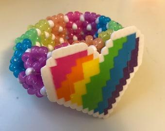 Glow In The Dark Rainbow 3D Kandi Cuff