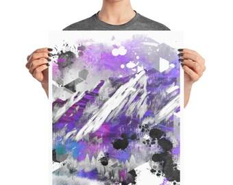 Neon Boulder Colorado Flatirons Glitch Poster, 8x10, 16x20, Psycho Decor, Abstract Mountain Print