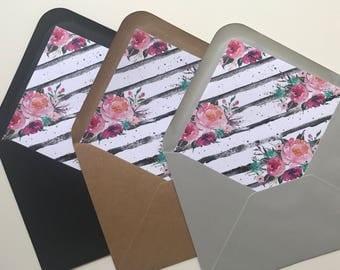 Floral Envelope Liner - Black & White Striped Envelope Liner - Wedding Envelope
