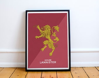 Game of Thrones Wall art House Lannister poster. Inspired art Game of thrones.  Lannister banner. Wall Decor