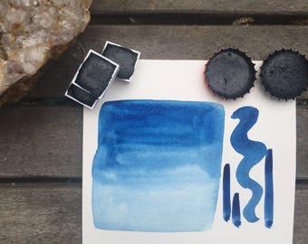 Prussian Blue. Half pan, full pan or bottle cap of handmade Prussian blue watercolor paint