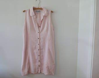 Women's Vintage Pink Linen Dress