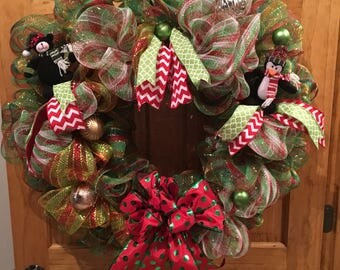 Red and Green Deco Mesh Christmas Wreath