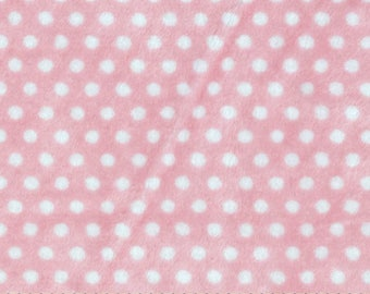 Coupon pink MINKY fabric with white dots