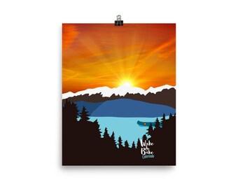 Cannabis Canoe Nug Pot Wake and Bake Mountains Sunrise Marijuana Colorado Wall Art Print Poster
