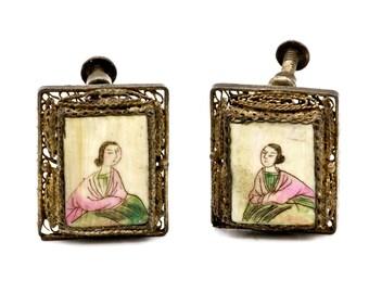 Old Scrimshaw Earrings, 800 Silver Gold Tone, Chinese Export Earrings, Cute Asian Woman Portrait, Filigree Earrings, Antique 1910s, Art Deco