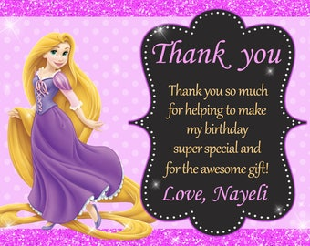 Rapunzel Tangled Thank You Card Birthday Party