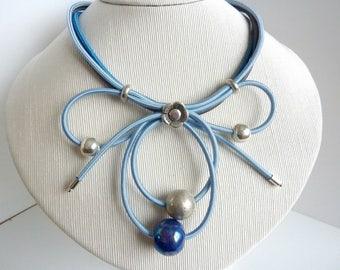 sky blue and indigo blue necklace