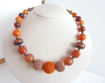 orange and Brown beaded necklace