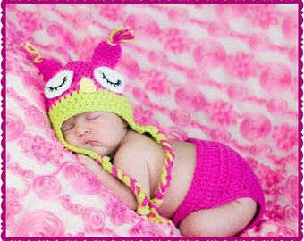 Newborn, Sleeping Owl,  Crocheted Baby Hat,  Crocheted Diaper Cover