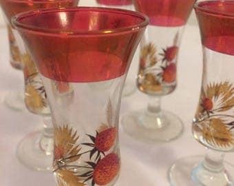 Vintage Sherry Glasses / Vintage Aperitif Glasses / Vintage Shot Glasses / Set of 6 Glasses / 1960's Sherry Glasses / 1960's Glassware