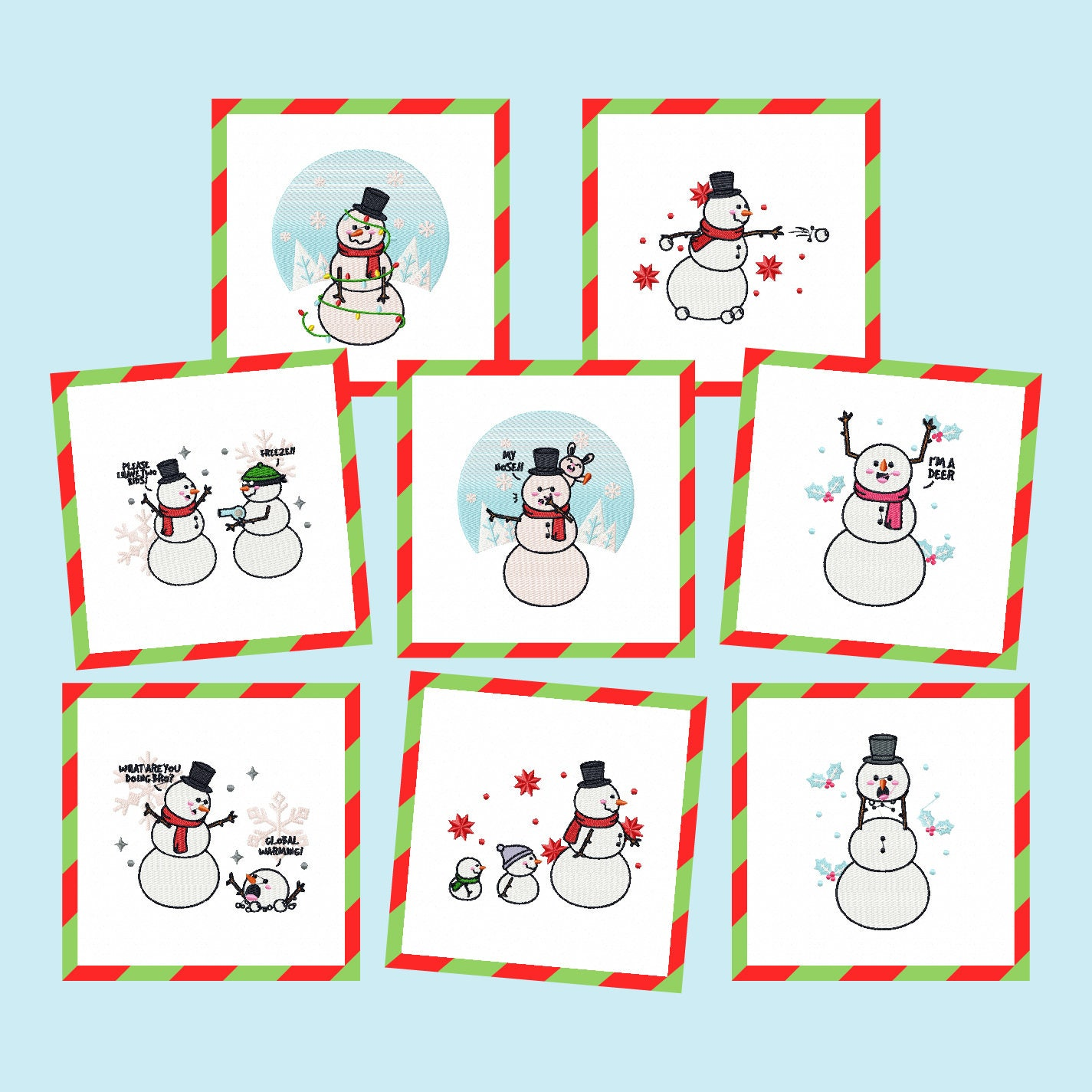 Machine embroidery designs funny snowman collection of