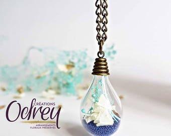 Memory necklace terrarium, botanical jewelry, eternal flower, glass, personalized charm, jewelry, lucky charm, rear view mirror