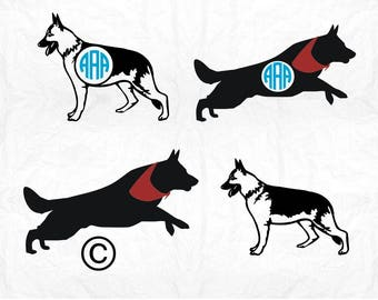 German Shepherd monogram dog SVG Clipart Cut Files Silhouette Cameo Svg for Cricut and Vinyl File cutting Digital cuts file DXF Png Pdf Eps
