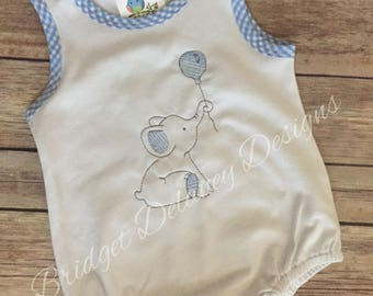 SALE! Custom Infant/Toddler bubble romper, blue gingham boy, embroidered elephant