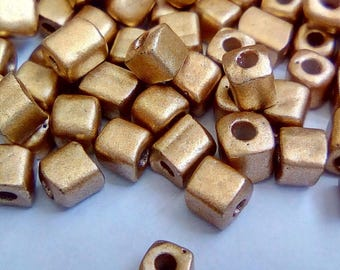 150 seed beads 3x5mm Golden Square cubes