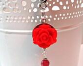 Red Rose Planner Charm - Erin Condren Planner Charm - Purse Charm - Zipper Pull - TN Charm - Travelers Notebook Charm