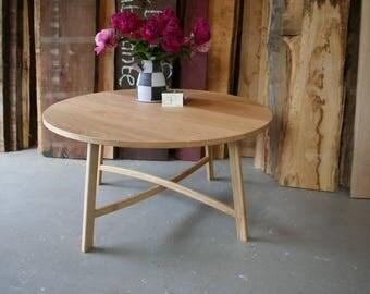 round coffee table , white oak