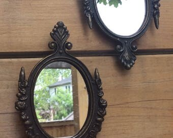 Pair of Mid century French style miniature mirrors. French baroque mirrors. Miniature mirrors for dollhouse. Mini French mirrors for hallway