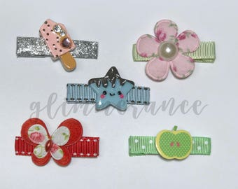 Cute, Unique Handmade Resin and Felt Hair Clips for Baby and Toddler Girls (Bundle of 5)