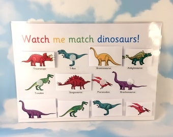 Dinosaur learning sheet, T-Rex, Nursery, Matching game, Teaching resource, Visual learners, Dinos, Early learning, Children's development