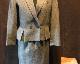 Vintage 90s Christiohee Wool Skirt Suit Small