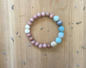 Essential Oil Diffuser Bracelet | Natural Matte Amazonite Beads | Natural Untreated | Rosewood Beads | White Lava Rock Beads