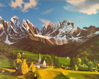 Oil painting. Alps.