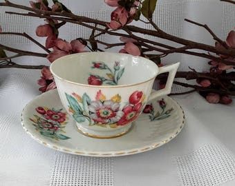 Made in Japan Teacup and Saucer Set, Pink and Gray Flowers