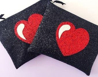 Heart Bag, Rockabilly Clutch Bag, Black Glitter Handbag, Wedding Bag, Love Heart Bag, Bridesmaid Gift, Gift for Her, Mothers Day Gift, Heart