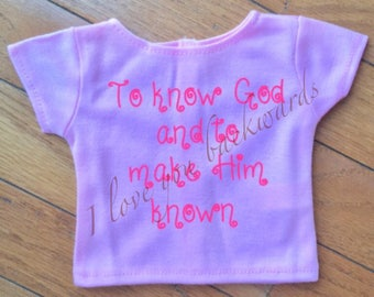 18 inch doll shirts: Classical Conversation themes
