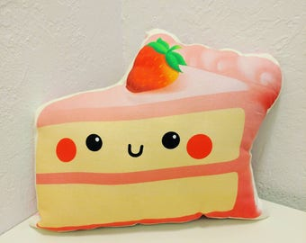 "Cute Pink Strawberry 12"" Inch Wide Pillow"