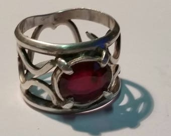 Sterling silver barrel ring with lab ruby