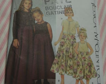 Simplicity 9018 Jessica McLintock Childs and Girls Dress and Knit Cardigan Sewing Pattern - UNCUT  - Size 7 8 10 12 14