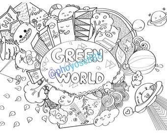 Green World Doodle Coloring Page -Doodle Art