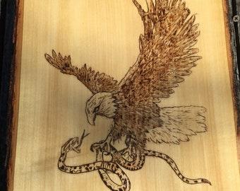 Eagle and Snake Woodburning